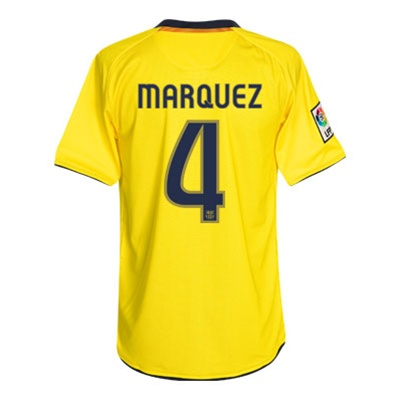 free shipping df0b1 2cab8 Nike FC Barcelona Away MARQUEZ 4 Replica '08-'09 Jersey (Yellow)