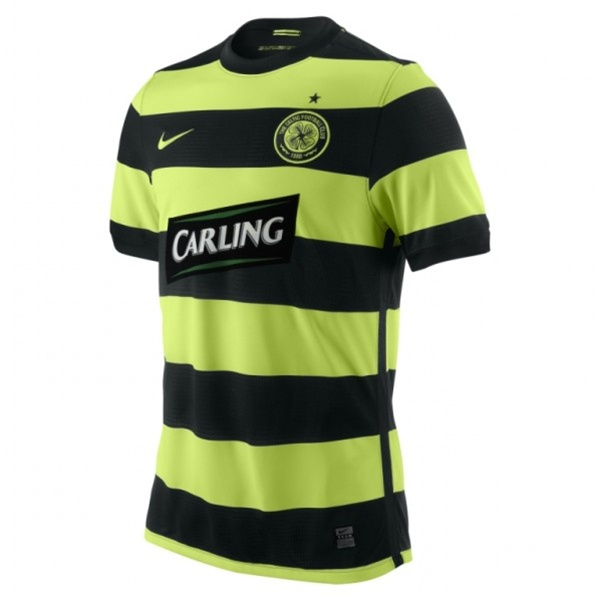 reputable site 649f9 ee6cd Nike Celtic FC '09-'10 Away Youth Replica Jersey (Black/Volt/Volt)