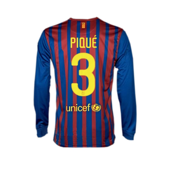 pretty nice beb72 fafe8 Nike Barcelona 'PIQUE 3' Long Sleeve Home '2011-2012 Replica Soccer Jersey  (Red/Blue)
