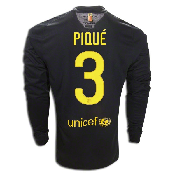 low priced db096 b9c8c Nike Barcelona 'PIQUE 3' Away Long Sleeve '2011-2012 Replica Soccer Jersey  (Black)