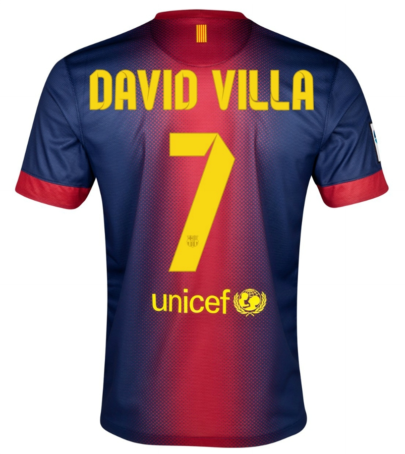 half off 9c74f 4470b Nike FC Barcelona 'DAVID VILLA 7' 2012-2013 Home Soccer Jersey (Midnight  Navy/Storm Red/Tour Yellow)