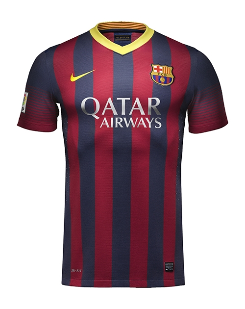 cheap for discount 52fa5 009eb Nike FC Barcelona '13-'14 Home Soccer Jersey (Navy/Red/Yellow)