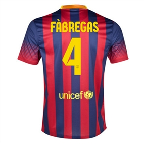Nike FC Barcelona 'FABREGAS 4' '13-'14 Home Soccer Jersey (Midnight Navy/Storm Red/Tour Yellow)