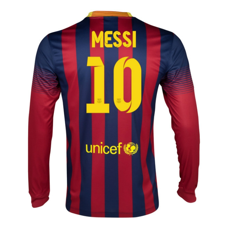 Nike FC Barcelona 'MESSI 10' 2013-2014 Home LS Soccer Jersey (Midnight