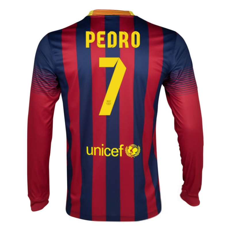 new styles 8371b fb963 Nike FC Barcelona 'PEDRO 7' 2013-14 Home LS Soccer Jersey (Navy/Red)