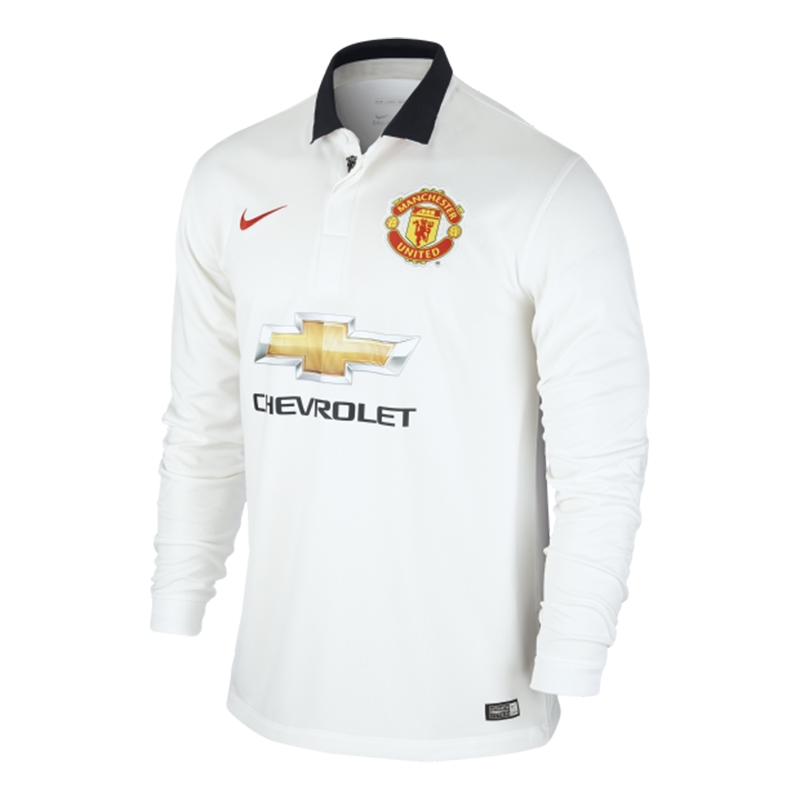 2c6f82a0655 Nike Manchester United Away  14- 15 Long Sleeve Soccer Jersey (White ...