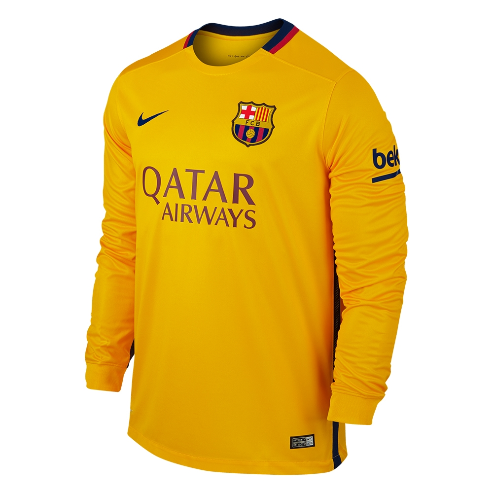 109.99 Add to Cart for Price - Nike FC Barcelona  15- 16 Long Sleeve Away  Stadium Soccer Jersey (University Gold University Red Loyal Blue)  2944ff240