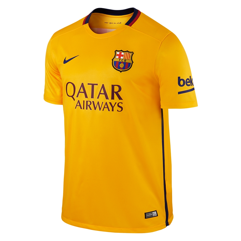 Nike FC Barcelona '15-'16 Away Soccer Stadium Jersey (University Gold/