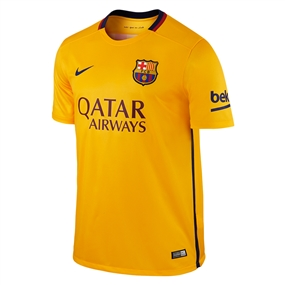 Nike FC Barcelona '15-'16 Away Soccer Stadium Jersey (University Gold/University Red/Loyal Blue)