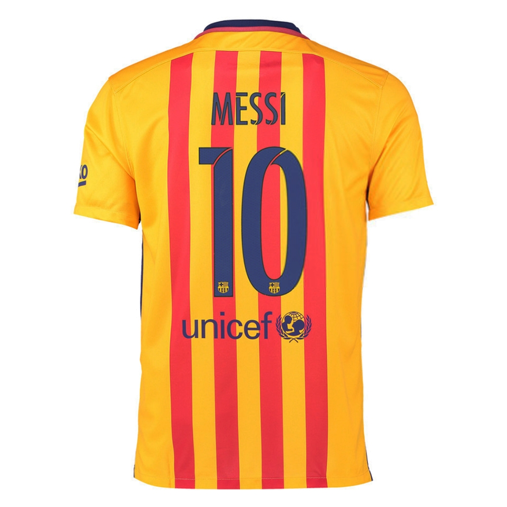 size 40 2ea0a 542e0 Nike FC Barcelona 'MESSI 10' '15-'16 Away Soccer Stadium Jersey (University  Gold/University Red/Loyal Blue)
