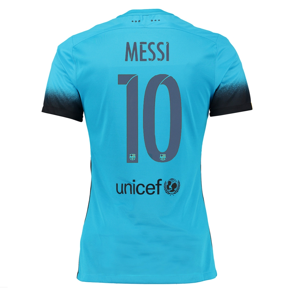 new product a7723 eb137 Nike FC Barcelona 'MESSI 10' '15-'16 Third Match Soccer Jersey (Light  Current Blue/Black)