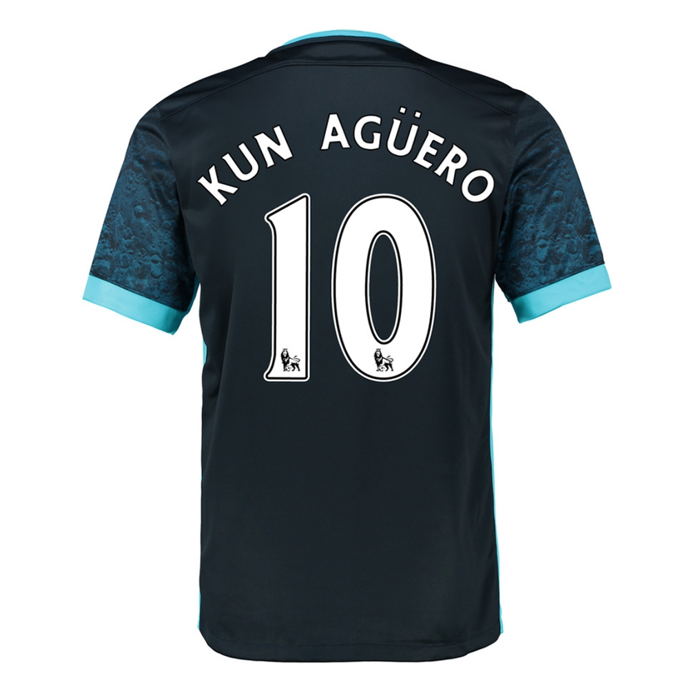 reputable site a9c53 0365e Nike Manchester City 'KUN AGUERO 10' Away '15-'16 Soccer Stadium Jersey  (Dark Obsidian/Blue Force/Chlorine)