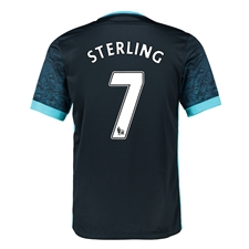 Nike Manchester City 'STERLING 7' Away '15-'16 Soccer Stadium Jersey (Dark Obsidian/Blue Force/Chlorine)