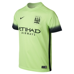 Nike Manchester City Third '15-'16 Soccer Stadium Jersey (Ghost Green/Black)