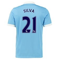 Nike Manchester City 'SILVA 21' Home '15-'16 Soccer Stadium Jersey (Field Blue/White/Obsidian)