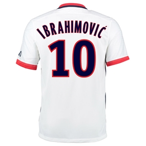 Nike Paris St. Germain 'IBRAHIMOVIC 10' Away '15-'16 Soccer Jersey (White/Midnight Navy/Pimento)