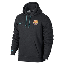 Nike FC Barcelona Core Hoodie (Black Heather/Light Current Blue)