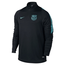 Nike FC Barcelona Ignite Midlayer LS Soccer Shirt (Black/Light Current Blue)