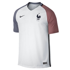 Nike France 2016 Stadium Away Soccer Jersey (White/Dark Obsidian)