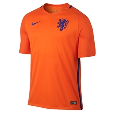 Nike Holland Dutch 2016 Stadium Home Soccer Jersey (Safety Orange/Concord)