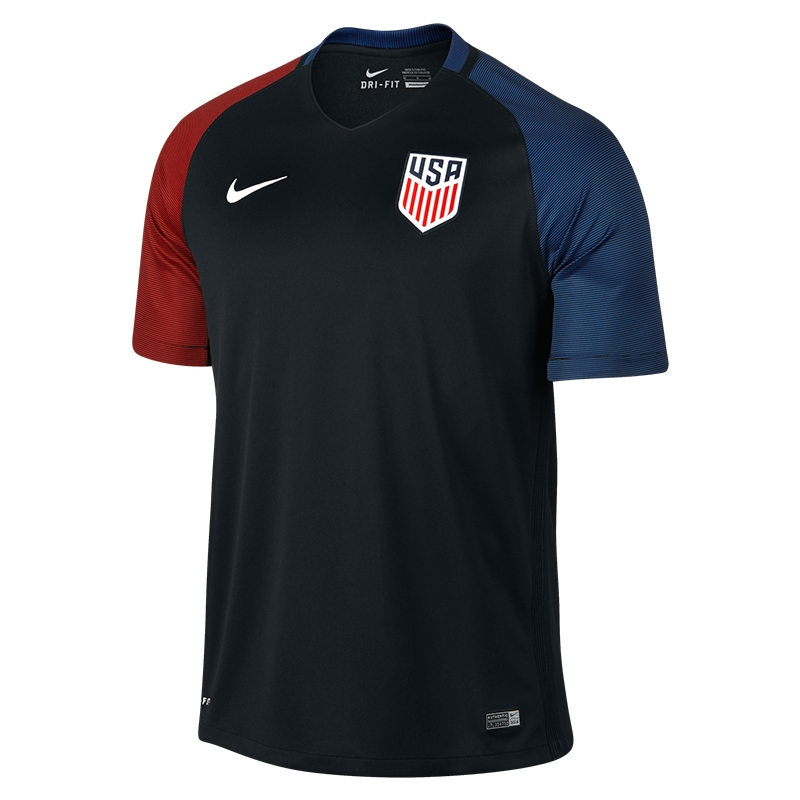 Nike USA 2016 Away Stadium Soccer Jersey (Black/Game Royal/Challenge Red/