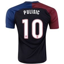 Nike USA 2016 'PULISIC 10' Away Stadium Soccer Jersey (Black/Game Royal/Challenge Red/White)
