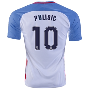 Nike USA 2016 'PULISIC 10' Vapor Match Home Soccer Jersey (White/Game Royal/Midnight Navy)