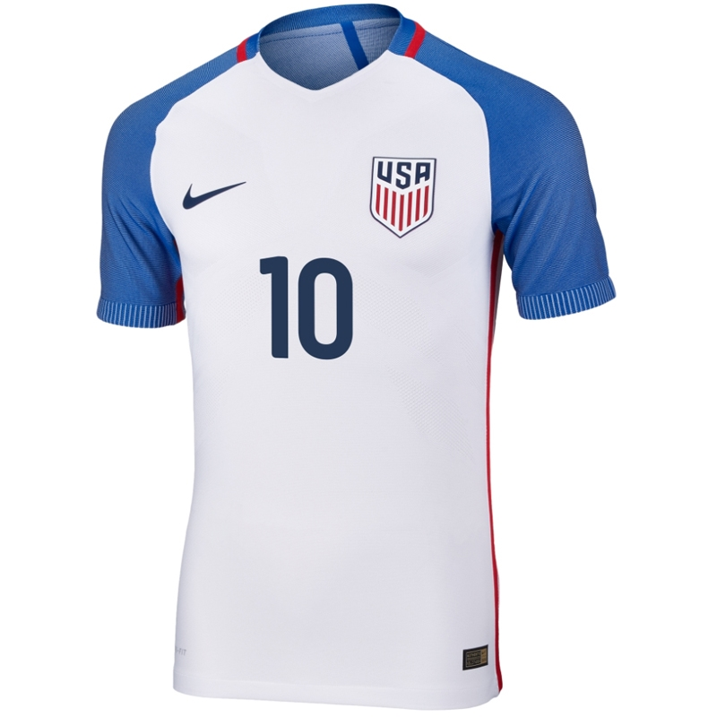 buy online 75af0 7bf51 Nike USA 2016 'PULISIC 10' Vapor Match Home Soccer Jersey (White/Game  Royal/Midnight Navy)