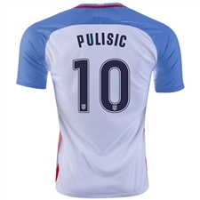 Nike USA 2016 'PULISIC 10' Home Stadium Soccer Jersey (White/Game Royal/Midnight Navy)