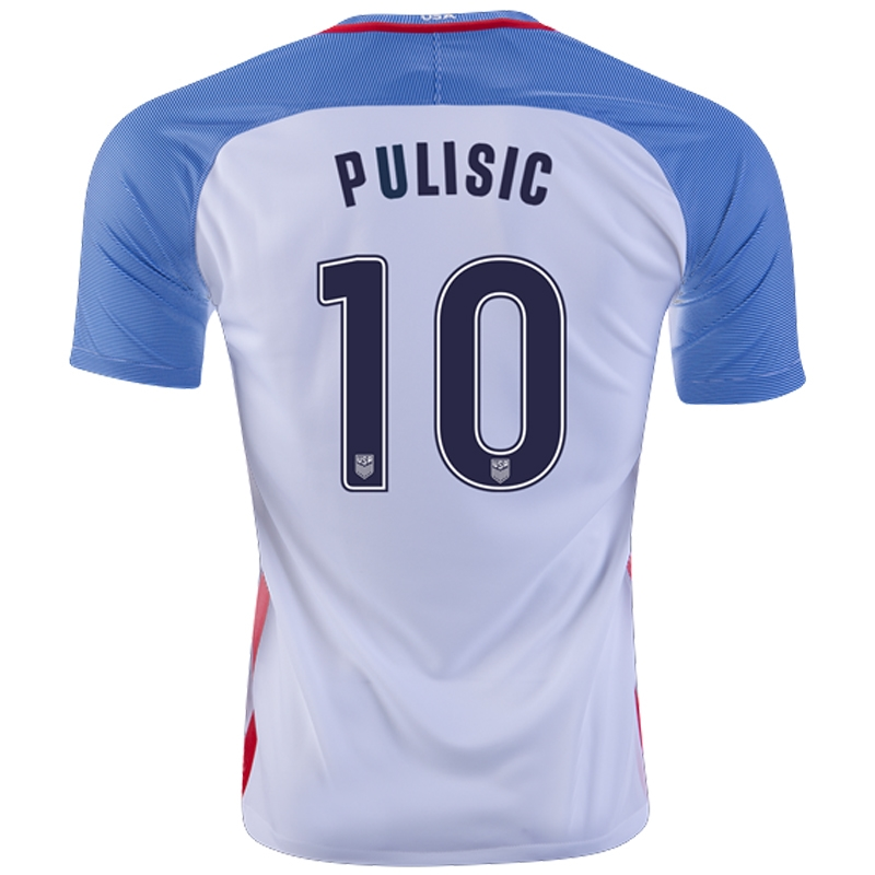 buy online f8b37 198de Nike USA 2016 'PULISIC 10' Home Stadium Soccer Jersey (White/Game  Royal/Midnight Navy)