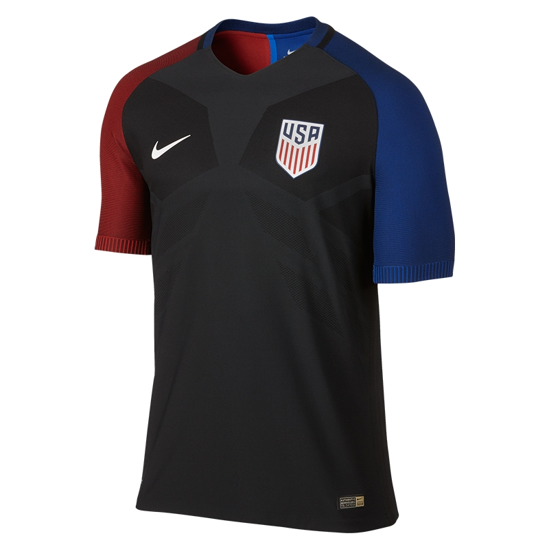 Nike Womens Soccer Jersey - Nike 2016 U.S. Vapor Match Away Black/Game Royal/Challenge Red/White X54