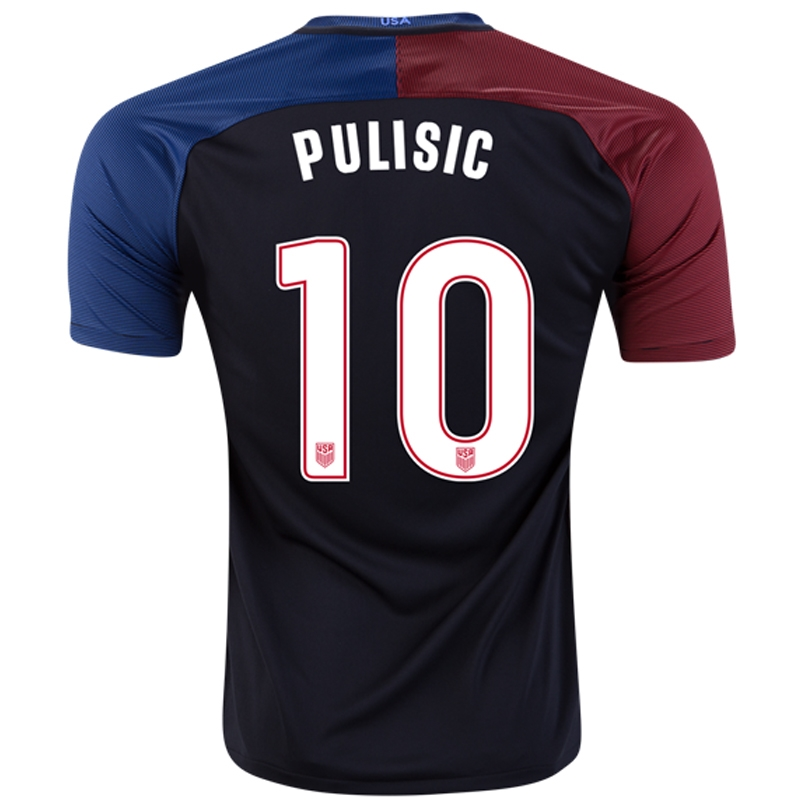 0aa7fdf2795 Nike USA 2016  PULISIC 10  Vapor Match Away Soccer Jersey (Black ...