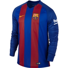 Nike FC Barcelona '16-'17 Long Sleeve Home Stadium Soccer Jersey (Sport Royal/Storm Red/University Gold)
