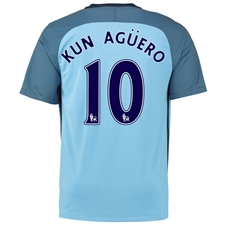 Nike Manchester City 'KUN AGUERO 10' Home '16-'17 Soccer Stadium Jersey (Field Blue/Midnight Navy)