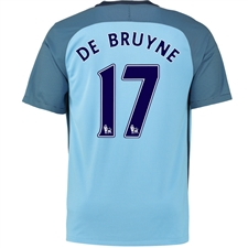 Nike Manchester City 'DE BRUYNE 17' Home '16-'17 Soccer Stadium Jersey (Field Blue/Midnight Navy)