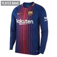 Nike FC Barcelona '17-'18 Long Sleeve Home Soccer Jersey (Deep Royal Blue/University Gold)
