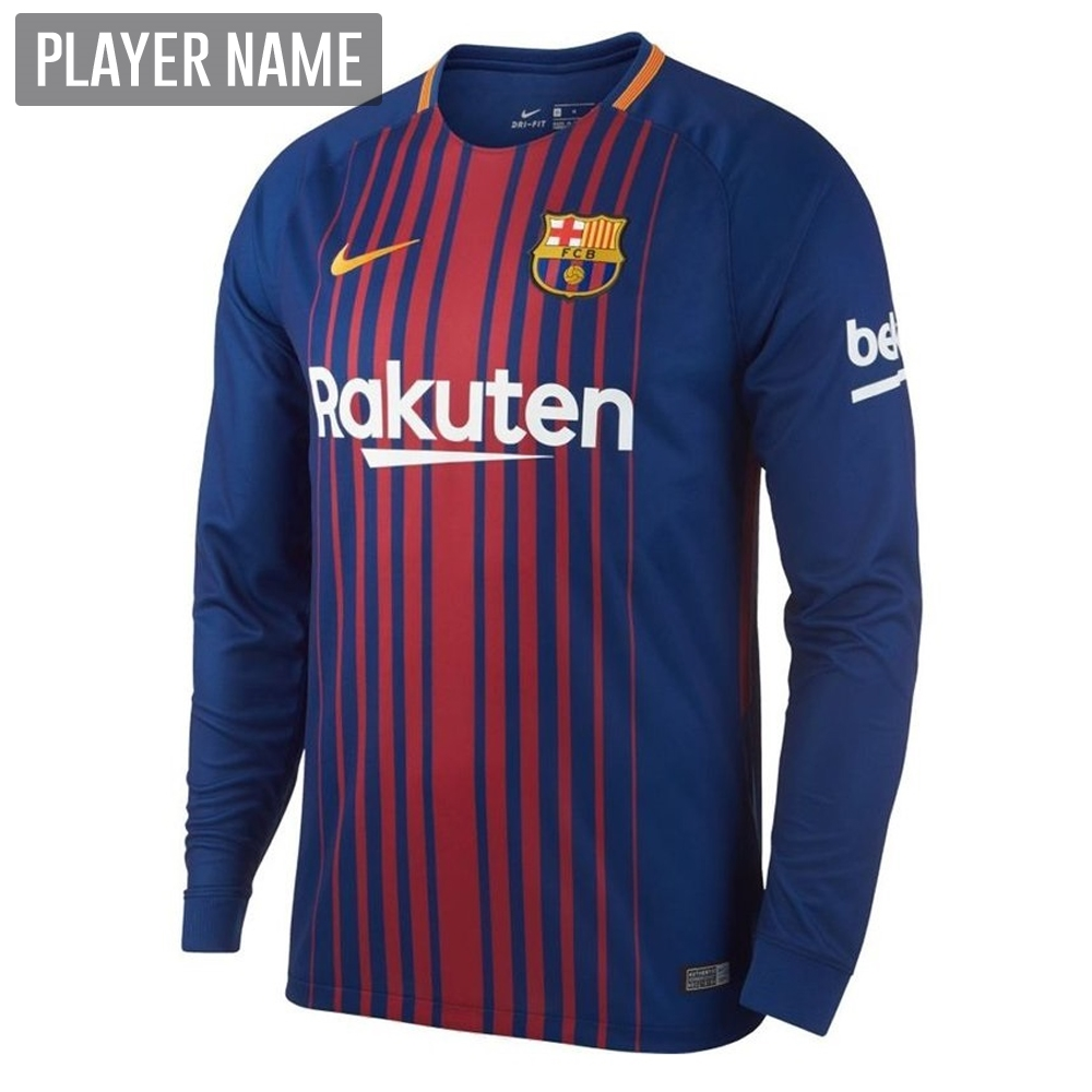 04196228d3e Nike FC Barcelona  17- 18 Long Sleeve Home Soccer Jersey (Deep Royal ...