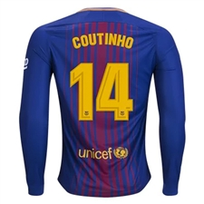 Nike FC Barcelona 'COUTINHO' '17-'18 Long Sleeve Home Soccer Jersey (Deep Royal Blue/University Gold)