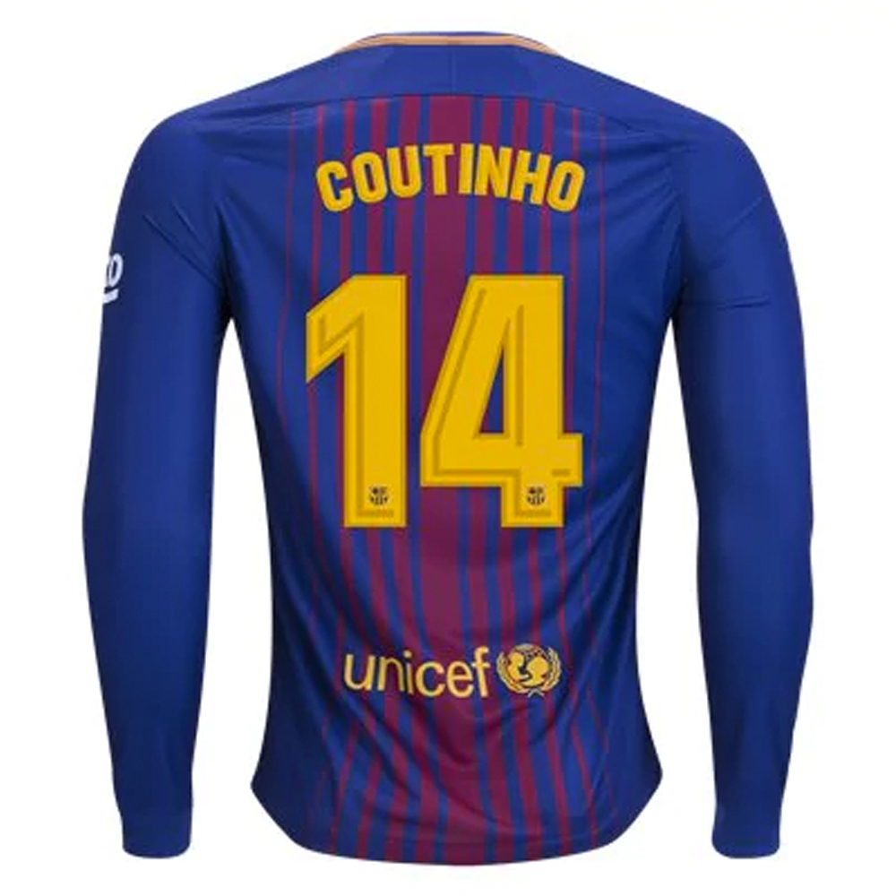 c8216a7bf Nike FC Barcelona  COUTINHO   17- 18 Long Sleeve Home Soccer Jersey ...