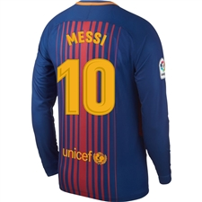 Nike FC Barcelona 'MESSI 10' '17-'18 Long Sleeve Home Soccer Jersey (Deep Royal Blue/University Gold)