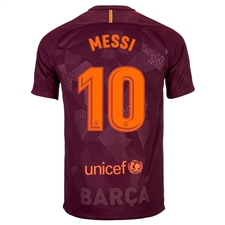 Nike FC Barcelona 'MESSI 10' '17-'18 Third Soccer Jersey (Night Maroon/Hyper Crimson)