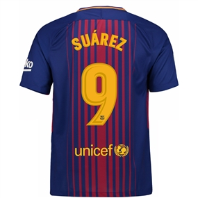 Nike FC Barcelona 'SUAREZ 9' '17-'18 Home Soccer Jersey (Deep Royal Blue/University Gold)