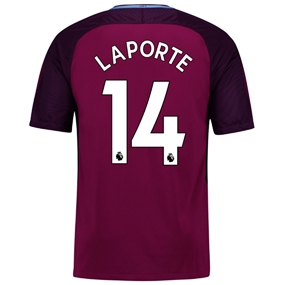 Nike Manchester City 'LAPORTE 14' Away '17-'18 Soccer Jersey (True Berry/White)
