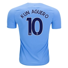 Nike Manchester City 'KUN AGUERO 10' Home '17-'18 Stadium Soccer Jersey (Field Blue/Midnight Navy)