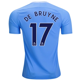 Nike Manchester City 'DE BRUYNE 17' Home '17-'18 Stadium Soccer Jersey (Field Blue/Midnight Navy)