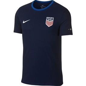 Nike Men's USA Crest Ringer T-Shirt (Midnight Navy/Blue Nebula)