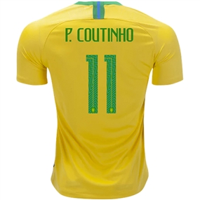 Nike Brazil 'P. COUTINHO 11' Home Stadium Jersey '18-'19 (Midwest Gold/Lucky Green)