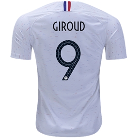 Nike France 'GIROUD 9' Away Vapor Match Jersey '18-'19 (White/Obsidian)