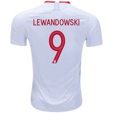 Nike Poland 'LEWANDOWSKI 9' Home Stadium Jersey '18-'19 (White/Sport Red)