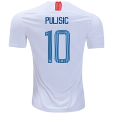 Nike USA Men's 'PULISIC 10' Home Vapor Match Jersey '18-'19 (White/Speed Red/Blue Nebula)